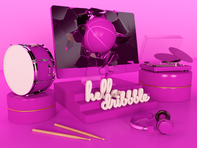 Hello Dribbble web arnoldrender c4d cinema4d clean design render 3d illustration