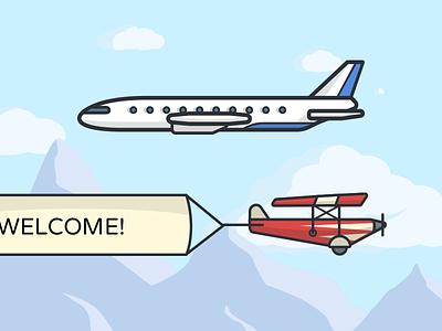 Dooock - Planes advertising banner stroke red blue creamy flight cloud sky mount dooock planes
