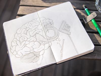 My brain loves OFFF15 offf15 morning love offf brain wood table sun illustration paper pen draw