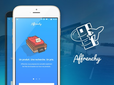 Affrenchy — Douanes Interfaces prices plane airport blue white stroke illustrations application app paiement douanes affrenchy