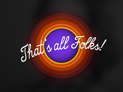 That's all Folks ! end circle dark orange violet yellow red mobile application cartoon looney tunes
