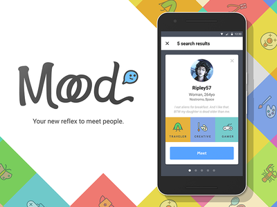Moood – mobile project application ux ui android school project discussion talk light colored mobile moood