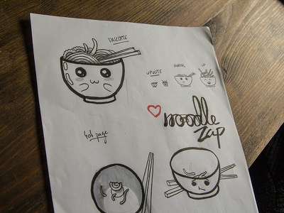 Noodle Zap - Sketches ramen japan manga happy expressive photo logo draw illustration zap noodle sketch