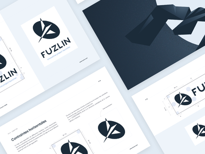 Fuzlin brandbook / guidelines logotype print rules launcher product space geometry illustration typography color guidelines brandbook