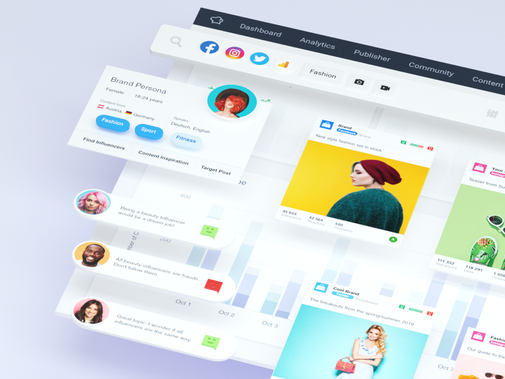 New Hero Image illustration ui dashboard design analytics web socialbakers 3d c4d