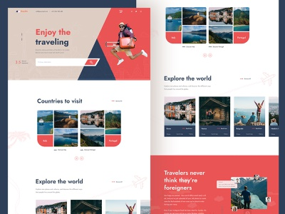 Roydits - Travel Agency Website Design apps ui design web designer webdesign clean design hotel booking adventure flight booking uxdesign uiux user interface travel guide traveling website travel agency travel website travel blog landing page ui landing page home page