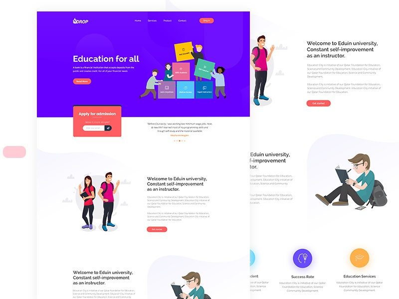 Free Education PSD Template. free typography illustration logo animation website web flat ux ui icon branding vector