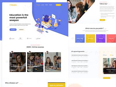 Edukin - Education PSD Template educational online school university school online learning education type flat ui minimal ux website web design branding landing page