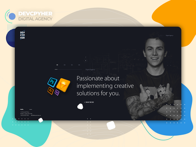 Devcpyher - 𝗗𝗶𝗴𝗶𝘁𝗮𝗹 𝗔𝗴𝗲𝗻𝗰𝘆 landing page agency website flat design studio uiinspiration userexperience userinterface minimal flat clean web ux uidesign agency webdesign website ui interface design