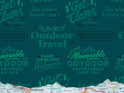 Outdoorsy Type Lockups travel map texture lockups type ads campaigns roadtrip typography rebrand outdoorsy
