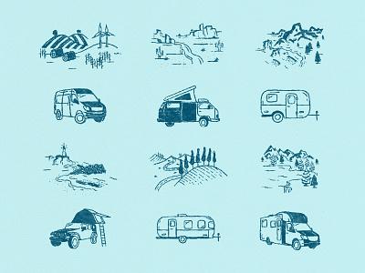 Outdoorsy Brand Illustrations roadtrip design rebrand rv travel outdoorsy texture illustration