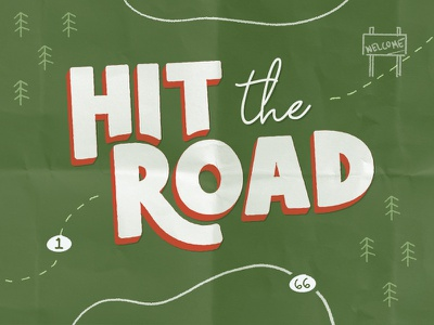 Hit The Road roadtrip dog cat chewy illustration type lockup print catalog
