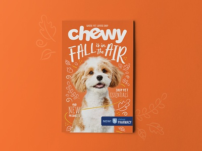 Fall is in the Air! dog print cover illustration chewy mockup catalog fall