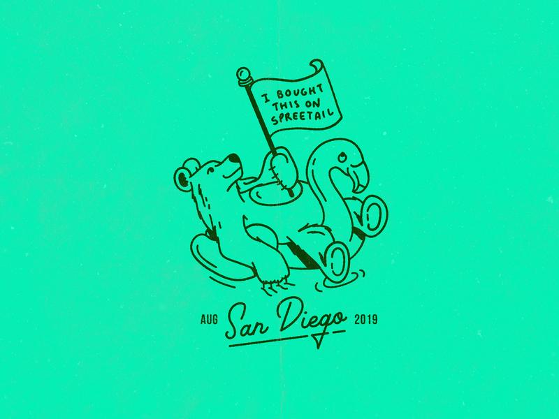 San Diego Company Trip T-Shirt trip summer tshirt pool float flamingo bear california san diego illustraion