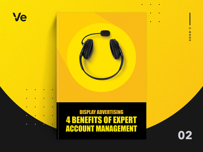 Ebook - Display Ads - 4 Benefits of Expert Account Management clever logo design happy face support customer success customer service call call center headset account manager account management minimal smiley cover magazine book cover ebook cover art graphic design graphic