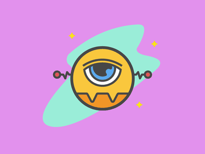 Cyclop Robot fun colors thick lines logo bold illustration cyclops robot