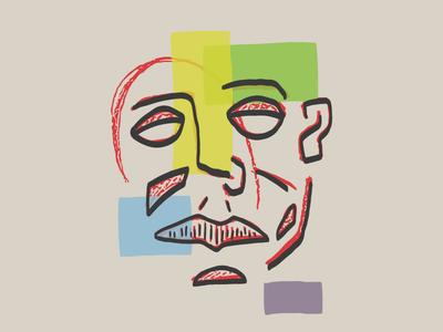 Non-existent figural emotion design overlays rough color geometric shapes graphic illustrator illustration face