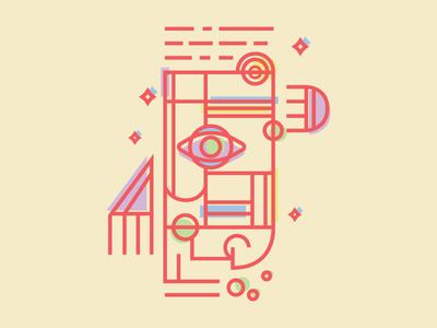 Shapeshifter mono line off-register color figural face geometric shapes illustrator illustration illustrate