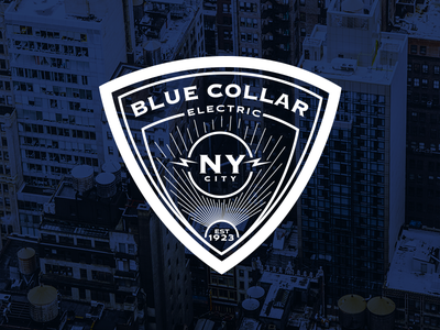 Blue Collar Electric identity vector icon illustrate typography badge design type logo design color branding illustration logo illustrator