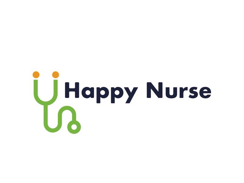 Happy Nurse vector inspiration brand and identity brand fun icon typography identity illustrate design color type logo design branding illustration illustrator logo