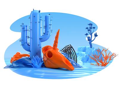 Startups desert illustration illustration 3d