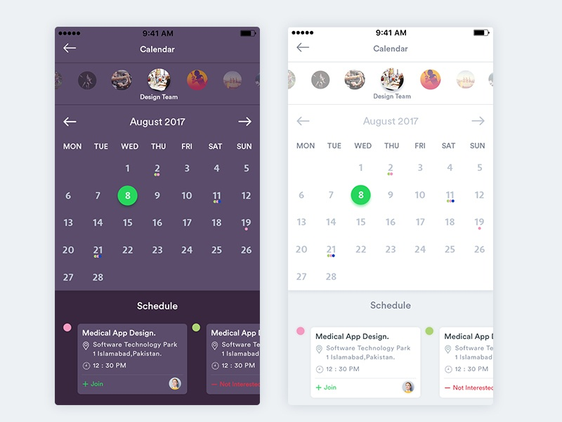 Calendar schedule event app screen design