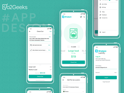 Simplyee Mobile App Design For Client load washing app washing app laundry app design laundry app laundry adobe xd sketch design and development mobile app design mobile app simplyee o2geeks ux typography ui mockup screen app design