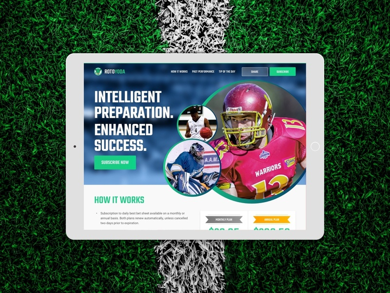 RotoYoda Website football ux web design gambling sports betting sports