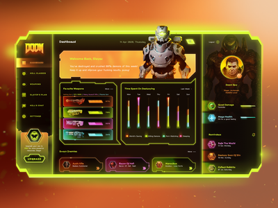DOOM Dashboard colorful figma user unterface ui dashboard doom eternal doom