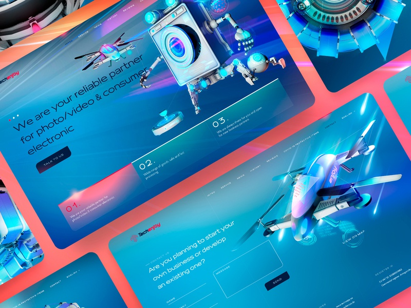Techenjoy ui logo website cinema4d promo web 3d art modeling 3d