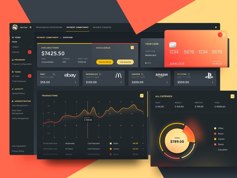 Financial App apple colorful ui  ux app design bank finance ui design application ui dashboard app