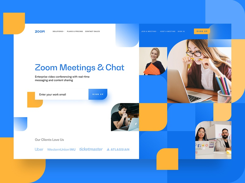 ZOOM Concept app ui identity branding logo call meeting video dashboard concept screen promo zoom