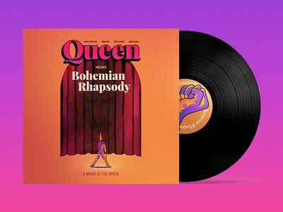 Bohemian Rhapsody vi colorful design hellions singer rock freddie mercury art bohemian rhapsody queen music vinyl