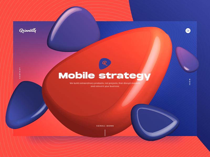 Reinvently Design Concept mobile vector promo illustration colorful design web digital reinvently