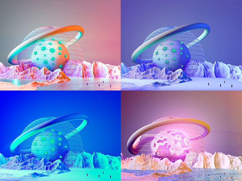 Parralel Universe colors graphic modeling 3d cinema 4d