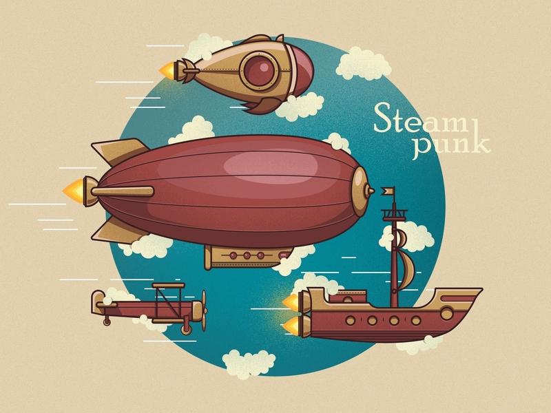 Steampunk color ship design art zeppelin illustrator vector