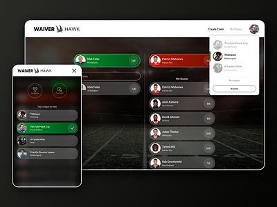 Waiver Hawk waiver hawk fantasy sports fantasy football mobile ui web ui dashboard ui branding design branding