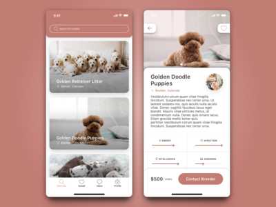 Dog Breeder App mobile app design iphone x dogs mobile card ui mobile app