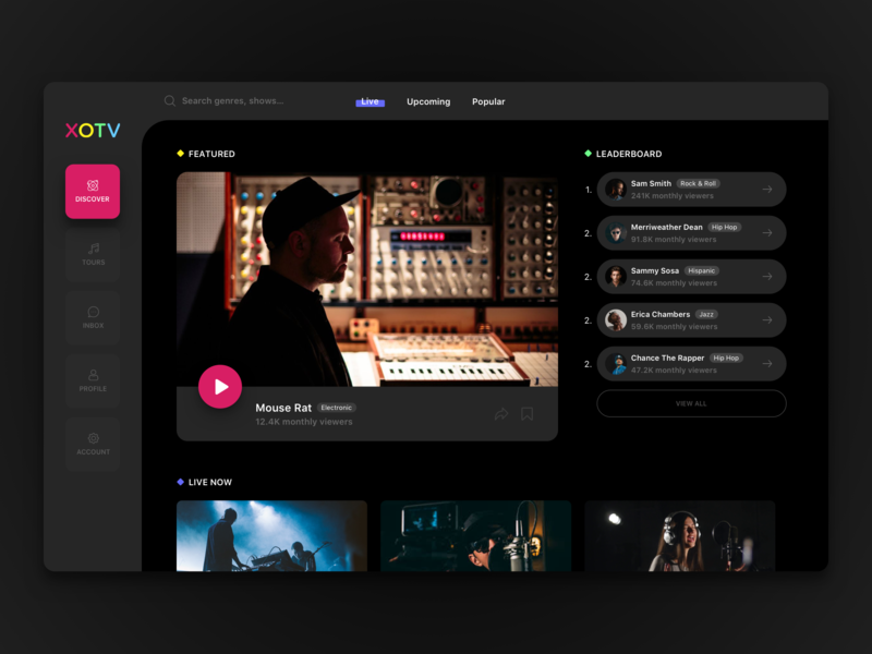 Web Dashboard for XOTV music artist live concerts music dashboard dark ui web dashboard