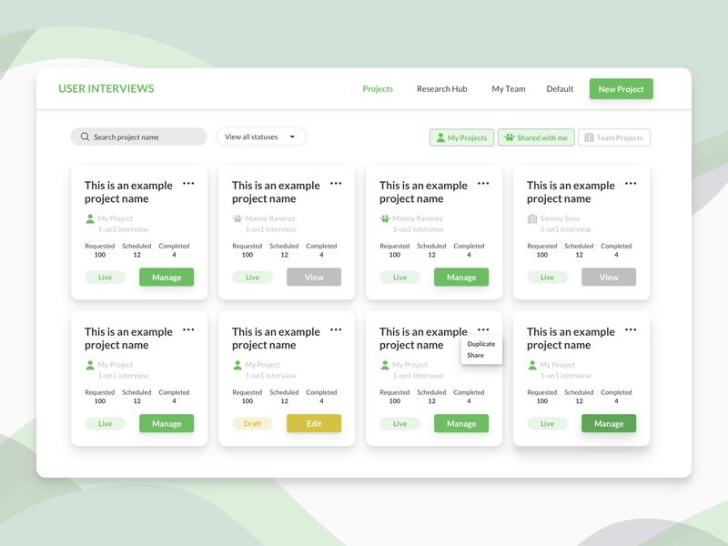 User Interviews Dashboard dashboard toggle card ui dashboard cards dashboard ui web dashboard