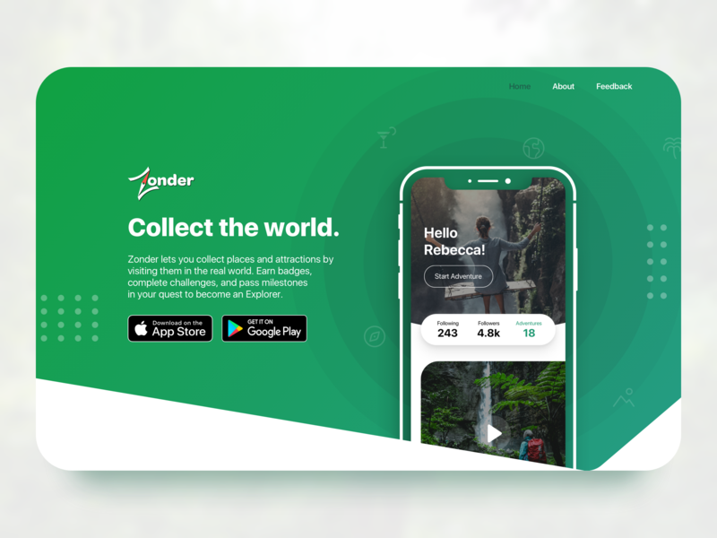 Adventure Mobile App Landing Page app website adventure app adventure website landing page mobile app website zonder