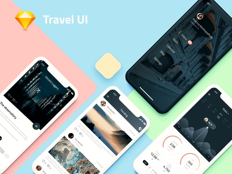 Travel UI - App System Design illustration app design ux ui