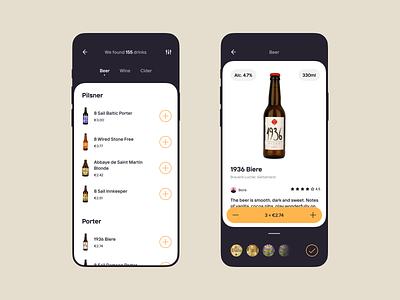 Drinks app wine cider beer drinks application icons design app ui