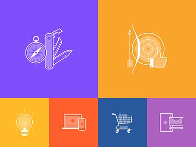 Icon set for IDM agency site icon web design swiss compass knife target lightbulb idea notebook shopping branding