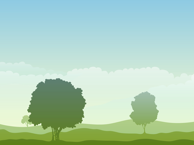 Morning landscape sun green nature sky clouds background tree morning