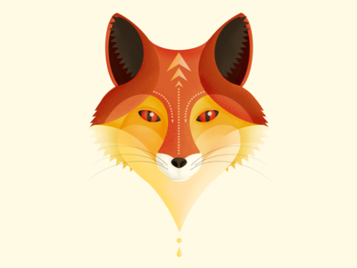 Tribal Fox orange texture illustration face animal geometric fox