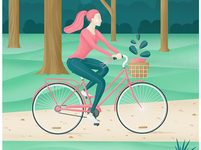 Riding my Bike pink texture girl plant illustration spring park ride bike bicycle