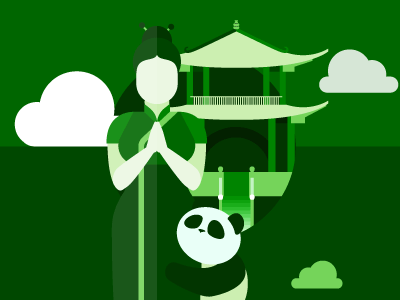 Learn Chinese illustration learning language chinese green