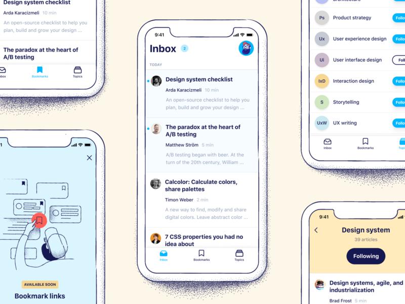 Vincent – Mobile App interface overview ui mobile app ui design app design vincent ios apps ios app design illustration news feed inbox frontend articles designer app mobile ui