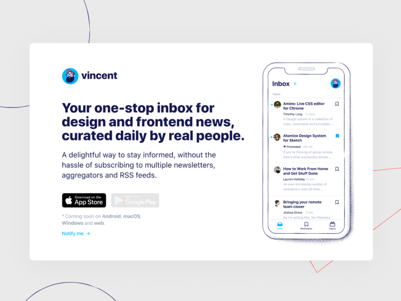 Vincent – Landing Page vincent landing page ux ui interface website startup web landing ios inspiration illustration clean branding brand design app